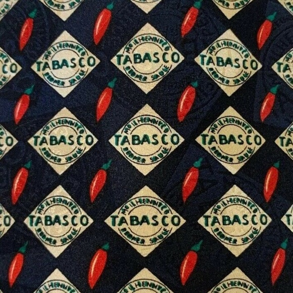 Tobasco Other - Tobasco Tie Silk Black Necktie Hot Sauce Novelty